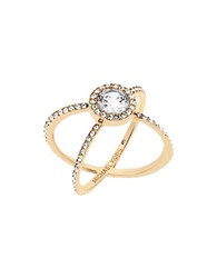 Michael Kors Modern Brilliance Cubic Zirconia Goldtone Double Banded Ring