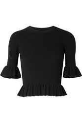 Michael Kors Collection Cropped Ruffled Ribbed Knit Sweater Black