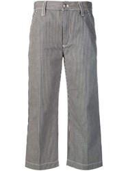 Marc Jacobs Striped Cropped Trousers Black