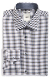 W.R.K Big And Tall Extra Trim Fit Check Dress Shirt Slate Blue