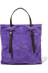 Tomas Maier Leather Trimmed Suede Tote Purple