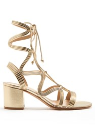 Gianvito Rossi Hydra Lace Up Leather Sandals Gold