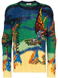 Valentino Knitted Dragon Motif Sweater Blue