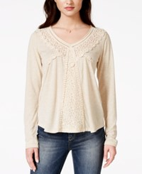 American Rag Long Sleeve Crochet Top