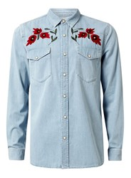 Topman Men's Long Sleeve Denim Shirt With Embroidery Light Blue