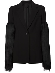 Vera Wang Panelled Fur Sleeve Blazer Black