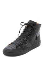 Maison Martin Margiela Lace Up High Top Sneakers Black Black Black