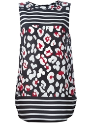 Red Valentino Patterned Striped Long Tank Top