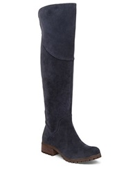 Lucky Brand Harleen Suede Leather Boot Navy Blue