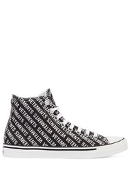 Vetements 20Mm Logo Print Canvas High Top Sneakers Black White