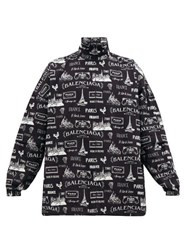Balenciaga Paris Print Cotton Gabardine Jacket Black White