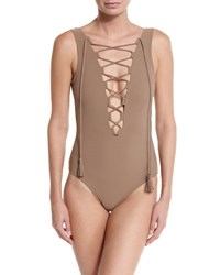 Karla Colletto Entwined Plunge Lace Up One Piece Swimsuit Latte