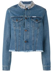 Forte Couture Embellished Collar Denim Jacket Women Cotton S Blue