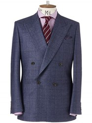 Chester Barrie Blue Prince Of Wales Check Kingly Suit