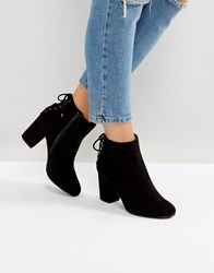 Head Over Heels By Dune Olli Lace Back Heeled Ankle Boots Black