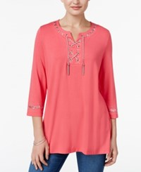 Jm Collection Petite Embellished Lace Up Tunic Only At Macy's Perfect Rose