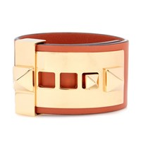 Valentino Garavani Rockstud Leather Bracelet Orange