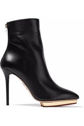 Charlotte Olympia Leather Platform Ankle Boots Black