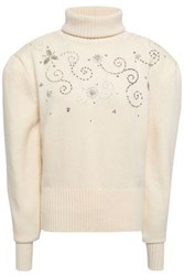 Magda Butrym Woman Holley Embellished Wool And Cashmere Blend Turtleneck Sweater Ivory