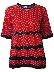 M Missoni Geometric Pattern Knitted Blouse Women Cotton Polyamide Polyester Red