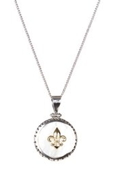 Dani G Jewelry 14K Gold And Sterling Silver Fleur De Lis Medallion Necklace White