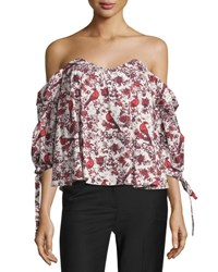 Caroline Constas Gabriella Off The Shoulder Bird And Floral Bustier Top Red Pattern