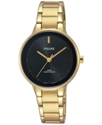 Pulsar Women's Easy Style Gold Tone Stainless Steel Bracelet Watch 30Mm Prs676
