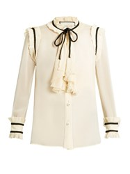 Gucci Pleat Trimmed Silk Chiffon Blouse Cream Multi