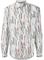 Cerruti 1881 Camouflage Shirt Men Cotton 43 Nude Neutrals
