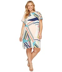 Adrianna Papell Plus Size Striped Maze Printed Trapeze Cold Shoulder Dress Blue Green Multi Women's Dress