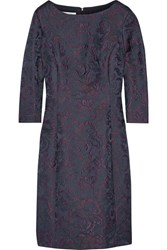 Oscar De La Renta Wool Blend Jacquard Dress Navy