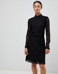 See U Soon Lace Dress With High Neck Black