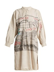Kilometre Paris Pantin Embroidered Vintage Linen Shirtdress Multi