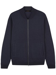 Jaeger Boiled Merino Wool Knitted Bomber Jacket Navy
