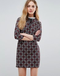 Qed London Tile Print Dress With Lace Up Front Black Oxblood