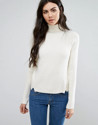 First And I Polo Neck Jumper Pristine White