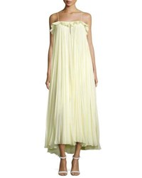 Adam By Adam Lippes Pleated Chiffon Cami Gown Green Green Pattern