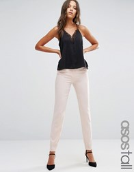 Asos Tall Ankle Grazer Cigarette Trousers In Crepe Blush Pink