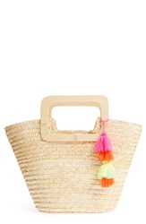 Bp. Straw Ring Handle Basket Tote Beige Natural