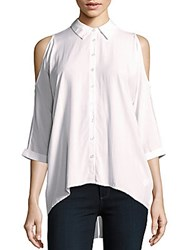 Saks Fifth Avenue Red Cold Shoulder Solid Shirt Ivory