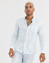 Celio Leaf Print Shirt With Pocket In Blue And White