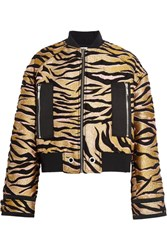 Kenzo Shell Trimmed Jacquard Bomber Jacket Gold