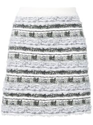 Thom Browne Check Tweed Yarn Miniskirt Grey