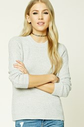 Forever 21 Marled Knit Dolman Sweater Grey Cream