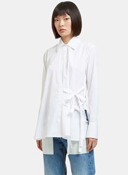 Helmut Lang Side Tie Poplin Shirt White