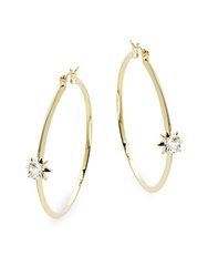 Noir Cz And 14K Gold Plated Hoop Earrings 2In Gold Clear
