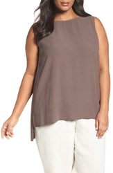 Eileen Fisher Plus Size Women's Silk Georgette Crepe Tank Cobblestone