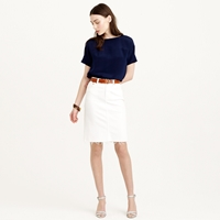 J.Crew Pencil Skirt In Stretch Denim With Raw Edge