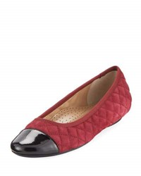 Neiman Marcus Saucy Quilted Suede Flat Opera Red