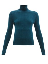 Alexandre Vauthier High Neck Ribbed Chenille Sweater Blue
